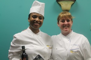 Chili Cook-Off Winner Stella Taylor poses with Program Director Chef Hillary Gallagher after her win.