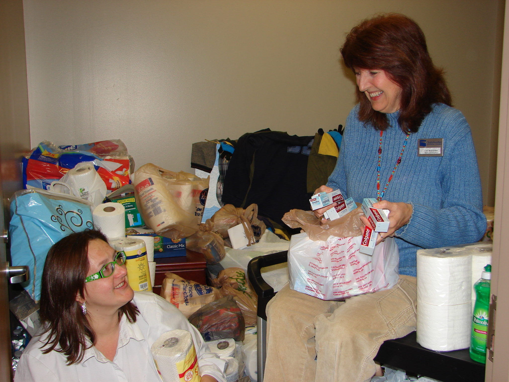 Pickens cares donation - 2 ladies smiling