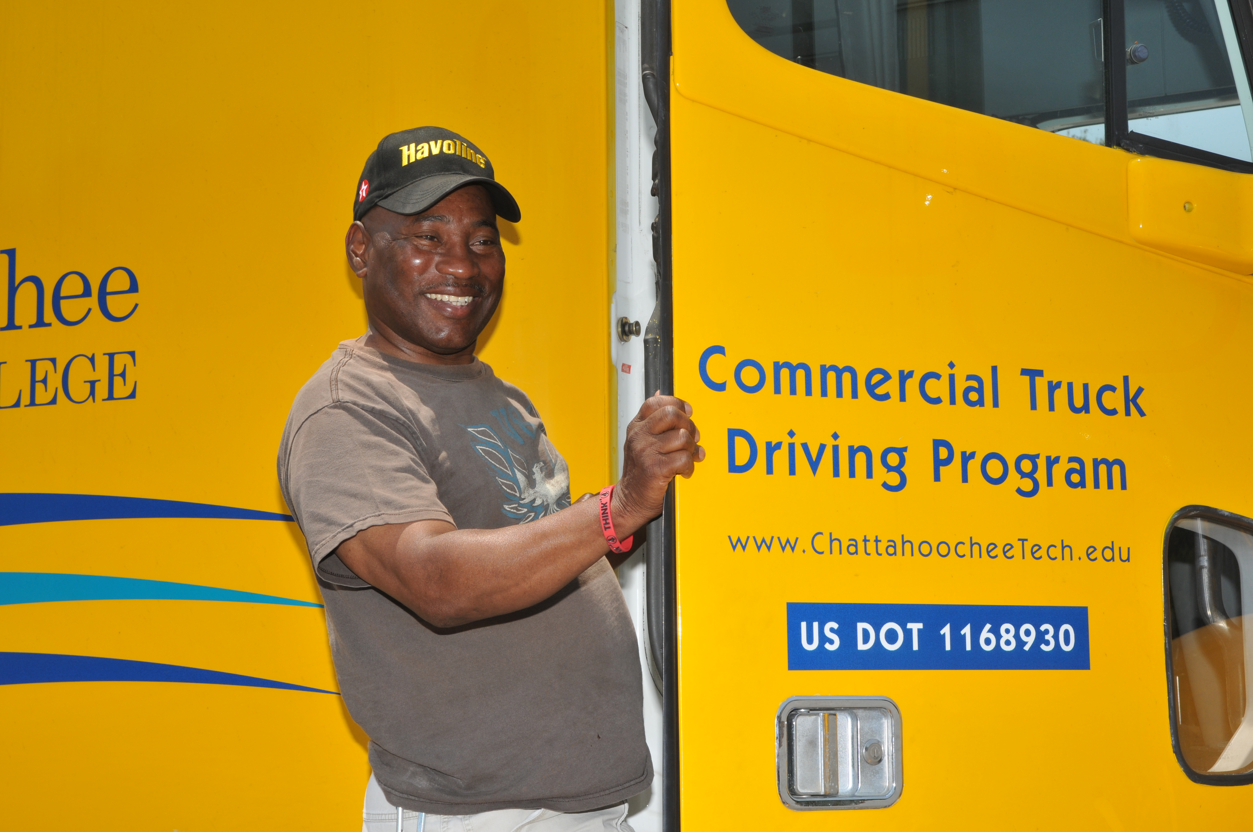 Commercial truck driving program student