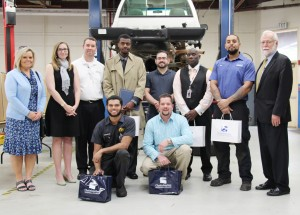 Back row, from left: AutoNation HR Manager Julie Banker, AutoNation Market Human Resources Manager Kristen Sowemimo, AutoNation Toytota Service Director Brian McClain, Automotive Technology students Emmanuel Unachukwu, William Beasley, Dr. Tharis Word, Sean Davis, CTC President Dr. Ron Newcomb; front row: Automotive Technology students Cameron Weaver and Michael King.