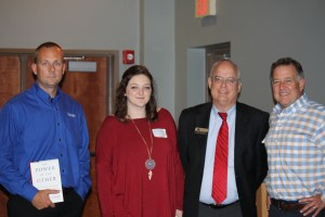 Pictured, from left, are Greg Campbell, Makenzie Brooks, CTC's Vice President of The Center for Corporate and Professional Education Rex Bishop and Chris Goethe.