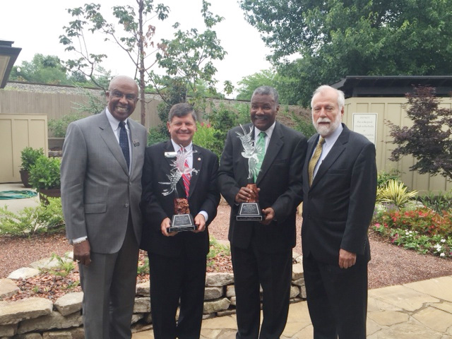 Chattahoochee Technical College President Ron Newcomb, far right, recently recognized David Connell, second from left, and Dr. Don Johnson for their service on the Board of Directors. Also pictured, far left, is the Rev. Carl Moore, who currently serves on the Board of Directors.