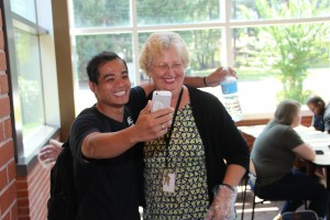 From left, CTC student John Lee takes a selfie with Learning Support instructor Judy Cannon.