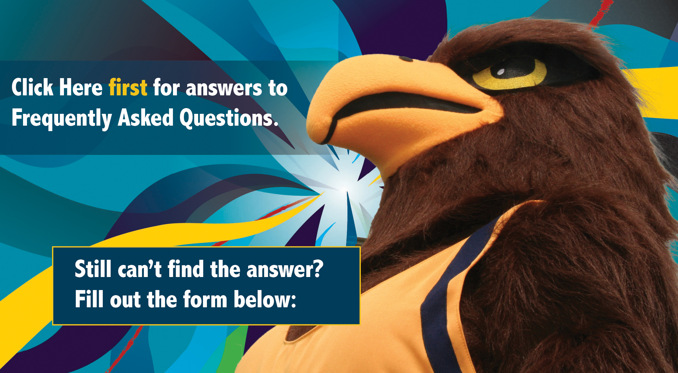 Image of CTC Mascot Swoop. Hyperlinked to FAQ page.