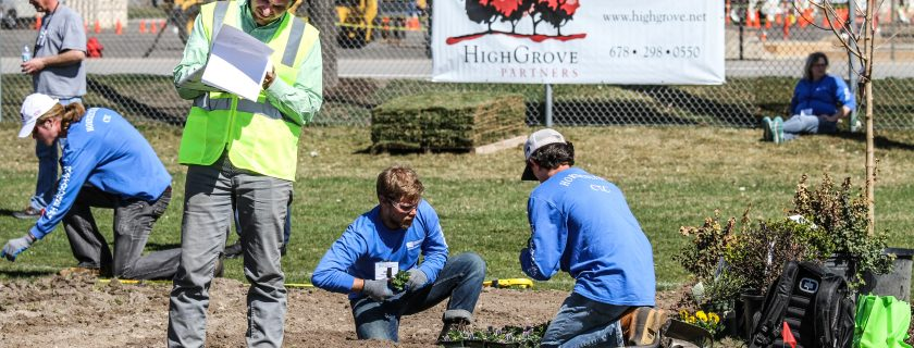 CTC male horticulture students plant flowers