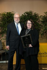 CTC President Dr. Ron Newcomb is pictured with the college's Rick Perkins Award winner Dr. Juanita Forrester.