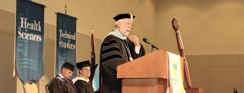 Chattahoochee Tech President Dr. Ron Newcomb delivers a speech at graduation