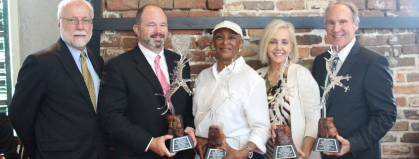From left, CTC President Dr. Ron Newcomb and retiring board members Mike Fields, financial consultant with Renasant Wealth Management; Deanne Bonner, president of the Cobb County branch NAACP; Mitzi Smith Moore, president of Sundial Plumbing Services; and Stevan Crew, president of Crew & Associates.