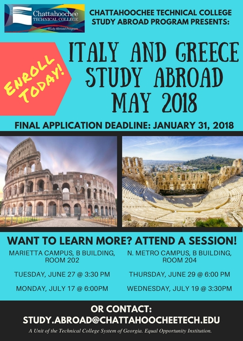 Study Abroad flyer for Italy and Greece