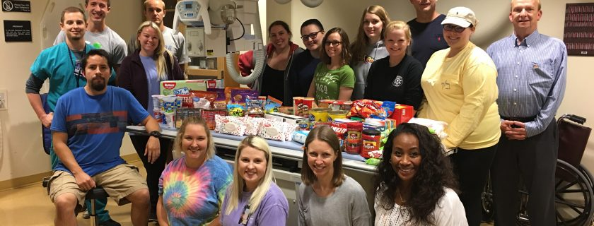 Students in Jamie Bailey's Radiography course who recently collected items for a fellow student whose husband is serving in the military.