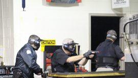 Campus Police make their way through an active shooter scenario on the Appalachian Campus.