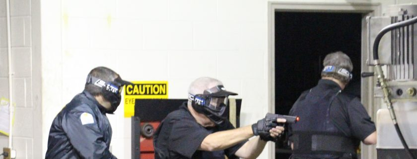 Photo of Campus Police making their way through an active shooter scenario on the Appalachian Campus.