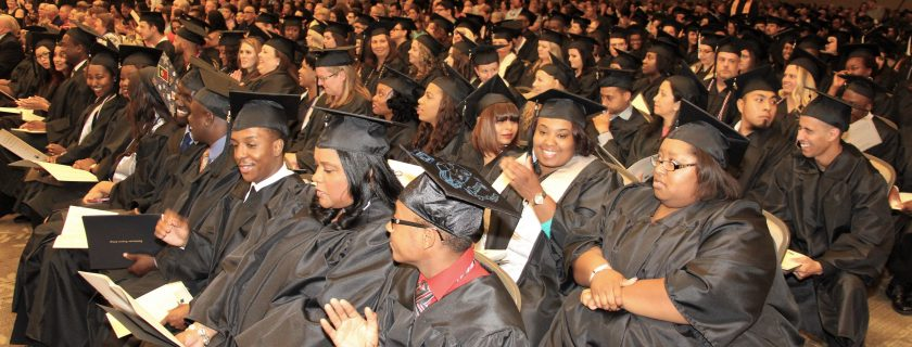 Photo of 200 graduates during spring commencement