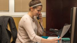 Chattahoochee Tech student Meghan Kotowski calls donors to express gratitude in the Chattahoochee Tech Foundation's recent thank-a-thon.