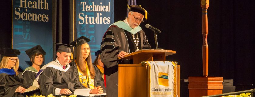 Dr. Ron Newcomb speaks at the December 2017 graduation ceremony.