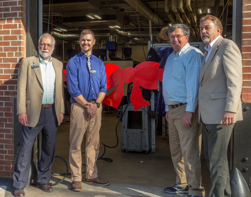 On hand for the ribbon cutting were, l-r, Dr. Ron Newcomb, President of Chattahoochee Technical College, Jordan Hunter, Welding Program Lead Instructor, Rep. Rick Jasperse, and Gerry Nechvatal, Executive Director of the Pickens County Chamber of Commerce.