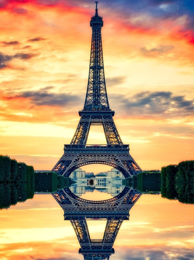 Picture of Eiffel Tower with pretty sky in background