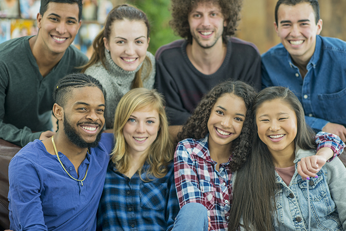 Diverse group of smiling students
