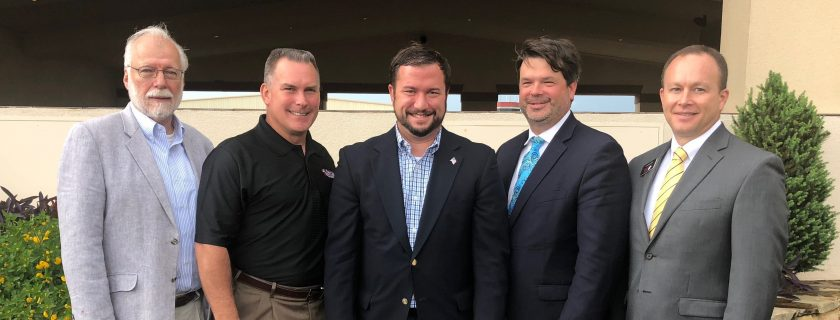 Meeting recently with the Chattahoochee Tech Foundation were, l-r, Chattahoochee Technical College President Dr. Ron Newcomb, Drew Tutton, Board Chair Jason Anavitarte, Trey Ragsdale and Rick Kollhoff.
