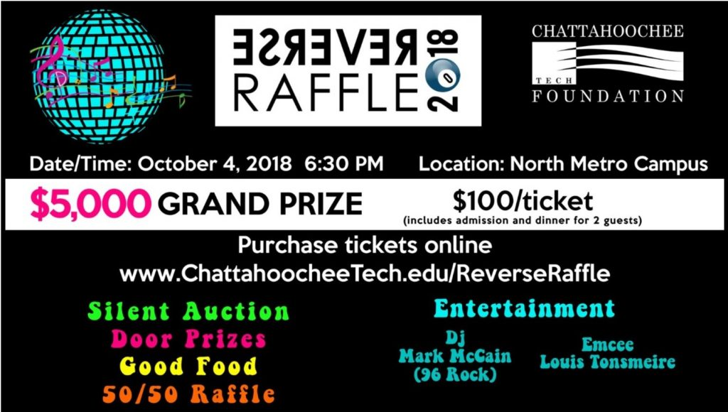 Tickets are on sale for the 2018 Reverse Raffle Fundraiser slated for Oct. 4 at the North Metro Campus.