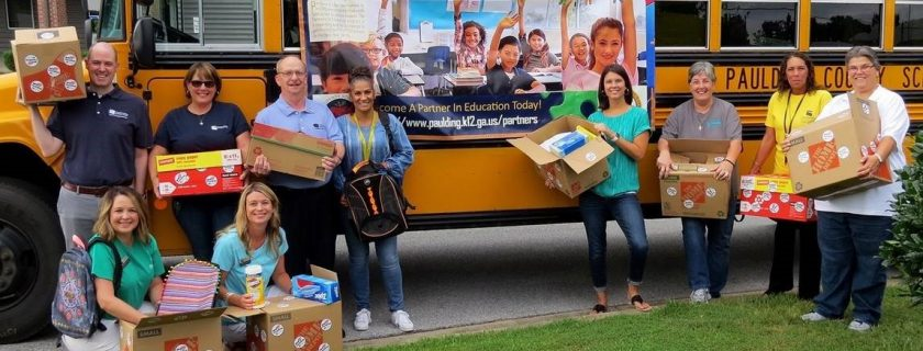 Chattahoochee Tech volunteers donate school supplies in Paulding County.