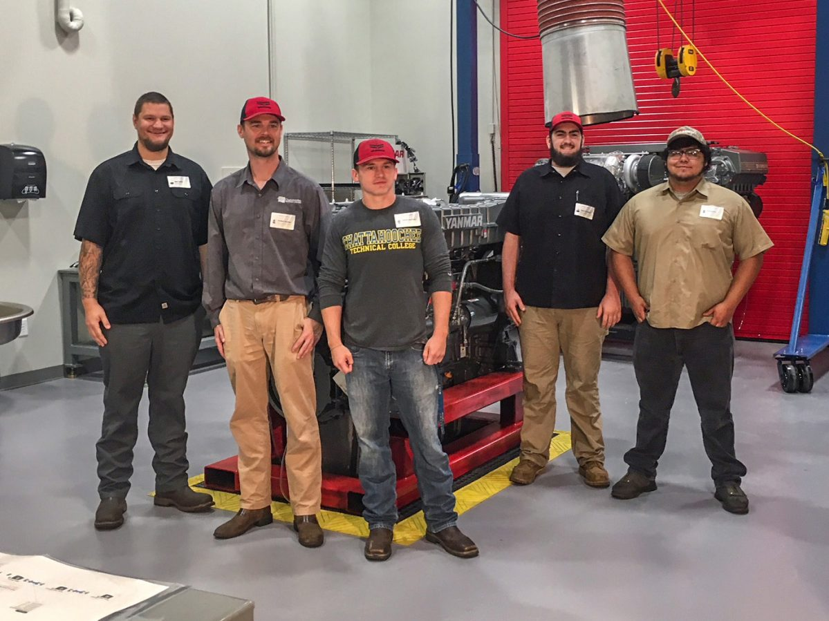 Chattahoochee Tech welding students and Lead Instructor Jordan Hunter toured the Yanmar Academy training facility in Acworth on Thursday, Sept. 27. Shown, l-r, are Max Zullo, Lead Instructor Jordan Hunter, Devin Atchley, Spencer Mann and Humberto Quivoz-Martinez.