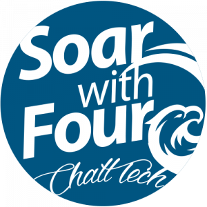 Soar with Four round blue logo
