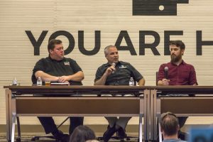 """Photo of panel at """"Beer: Where Science, Economy and Culture Collide"""" event."""