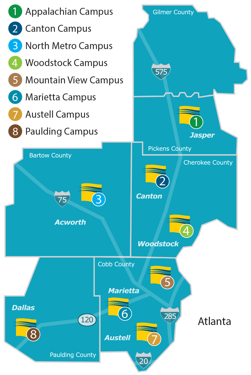 Map Of Colleges In Georgia.Chattahoochee Technical College A Unit Of The Technical College