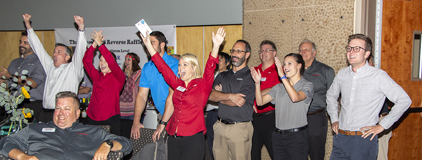 Yanmar employees celebrated when Yanmar was announced as the winner of the Chattahoochee Tech Foundation 2018 Reverse Raffle fundraiser.