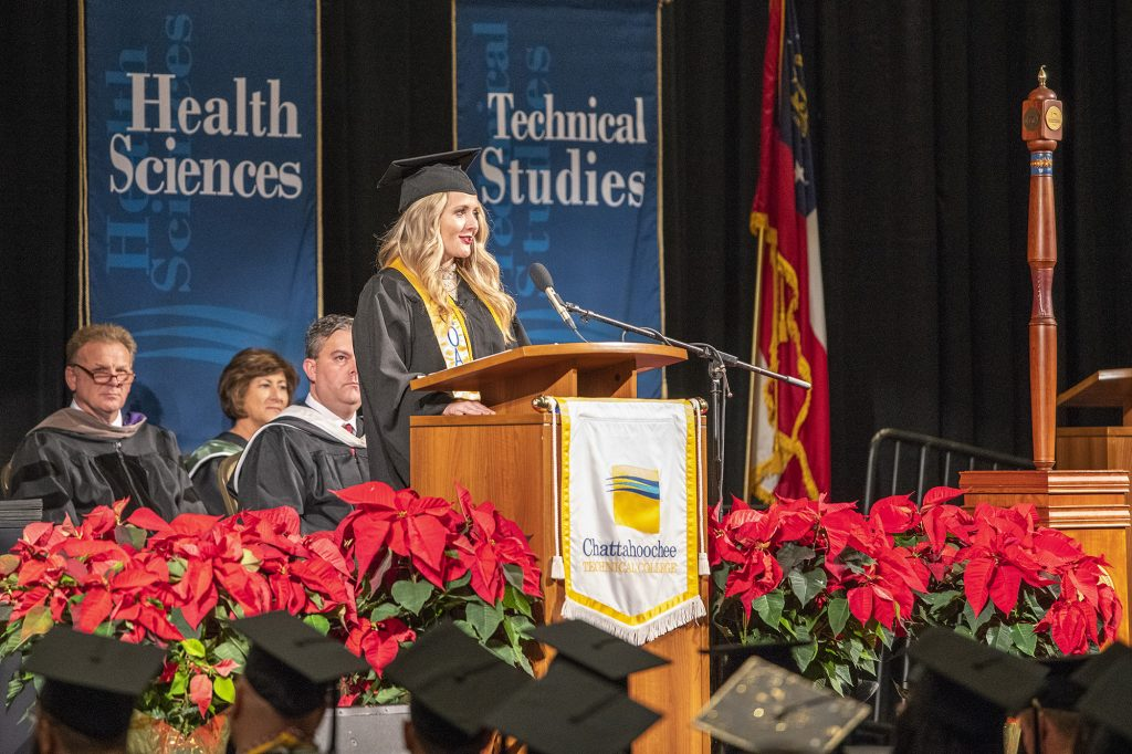 Rachel Gondek, of Pickens County, delivered the commencement address.
