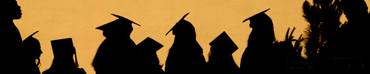 silhouette of graduates on gold background