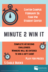 Minute 2 Win It poster image for Canton Campus