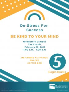 Poster image for de-stress for success at Woodstock Campus