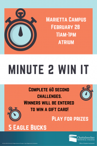 Minute 2 Win It poster image for Marietta Campus