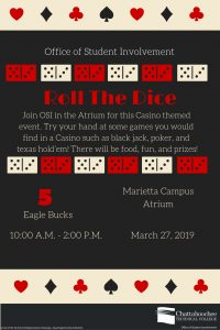 Poster image for Roll the Dice at Marietta Campus