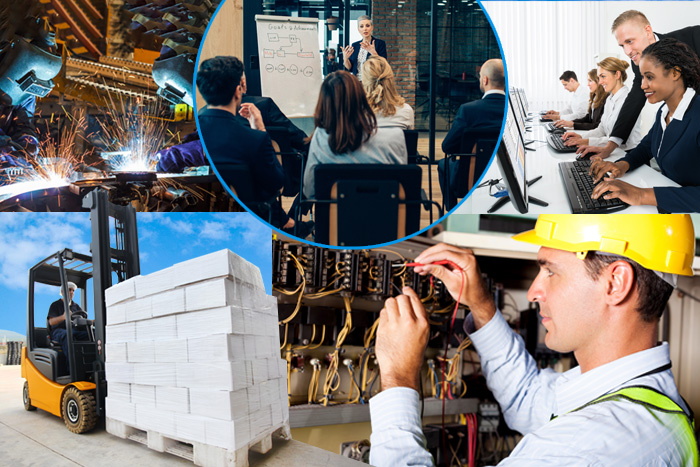 Photo collage of economic development courses