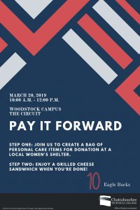 Poster image for Pay It Forward event at Woodstock Campus