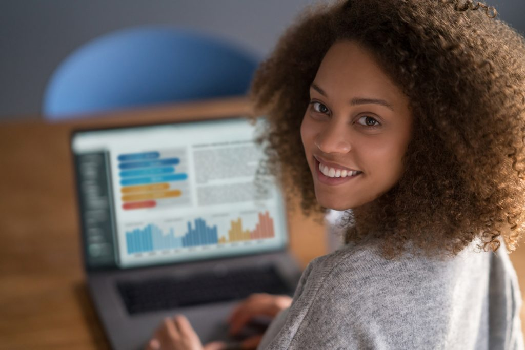 female student working online