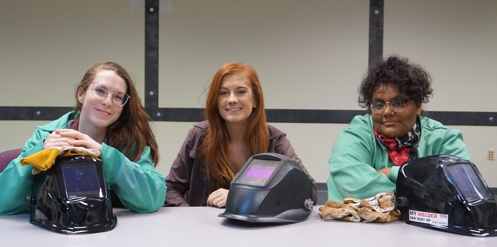 Sarah Macedo, Katarina Highley-Sowers, and Ceason Eisele, l-r, are welding students at the Chattahoochee Tech Paulding Campus.