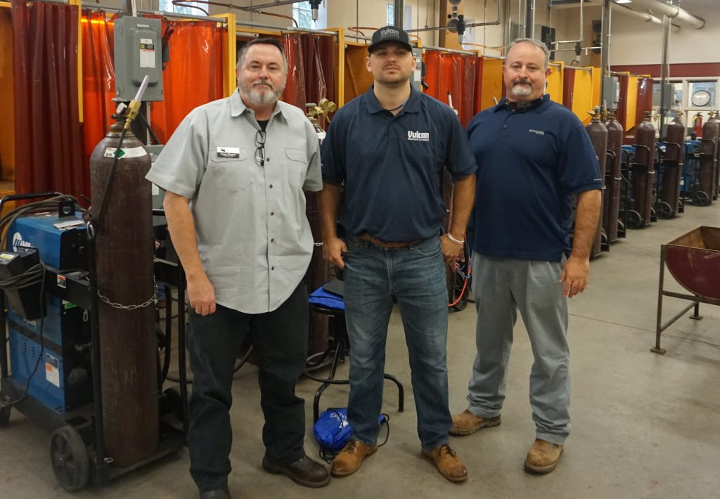 Shown, l-r, are Chattahoochee Tech Welding Instructor Jim Thomas, Vulcan Materials Company Recruiter Will Huff, and Vulcan Materials Company Villa Rica Plant Manager Chris Sheffield.
