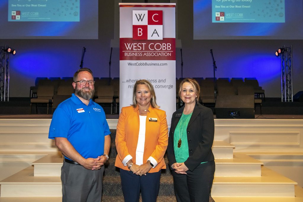 Shown, l-r, are West Cobb Business Association President-Elect Jason Pendley, Chattahoochee Tech Vice President for Student Affairs and External Affairs Jennifer Nelson, and Chattahoochee Tech Director of Advancement Stephanie Hubbell.