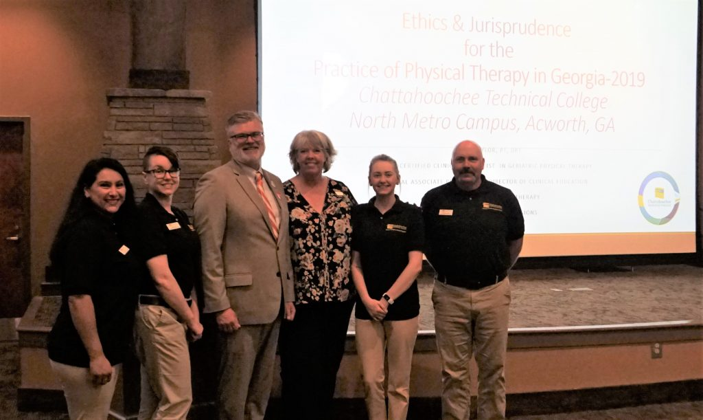 Chattahoochee Tech PTA students from the Class of 2019 attended the Ethics & Jurisprudence course held recently at the North Metro Campus. Shown here, l-r, are Ana Wesley, Ashley Clark, Dr. David Taylor, Dr. Stephanie Puffer, Adriana Smith, and Chad Stamey.
