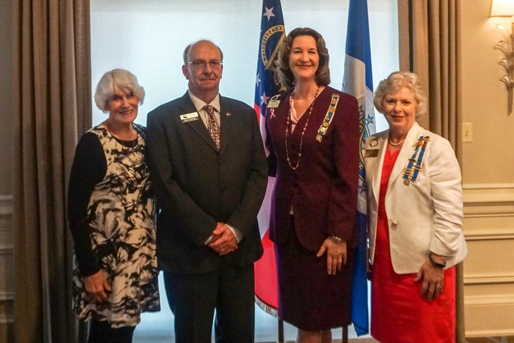 Shown here, l-r, are Jan Cunningham, the wife of Jim Cunningham for whom the Veteran Services Center at Chattahoochee Tech is named, Chattahoochee Tech Veteran Services Coordinator Barry Munday, DAR Chapter Regent Ann Ameye and DAR Chapter Vice Regent Linda Lopez.