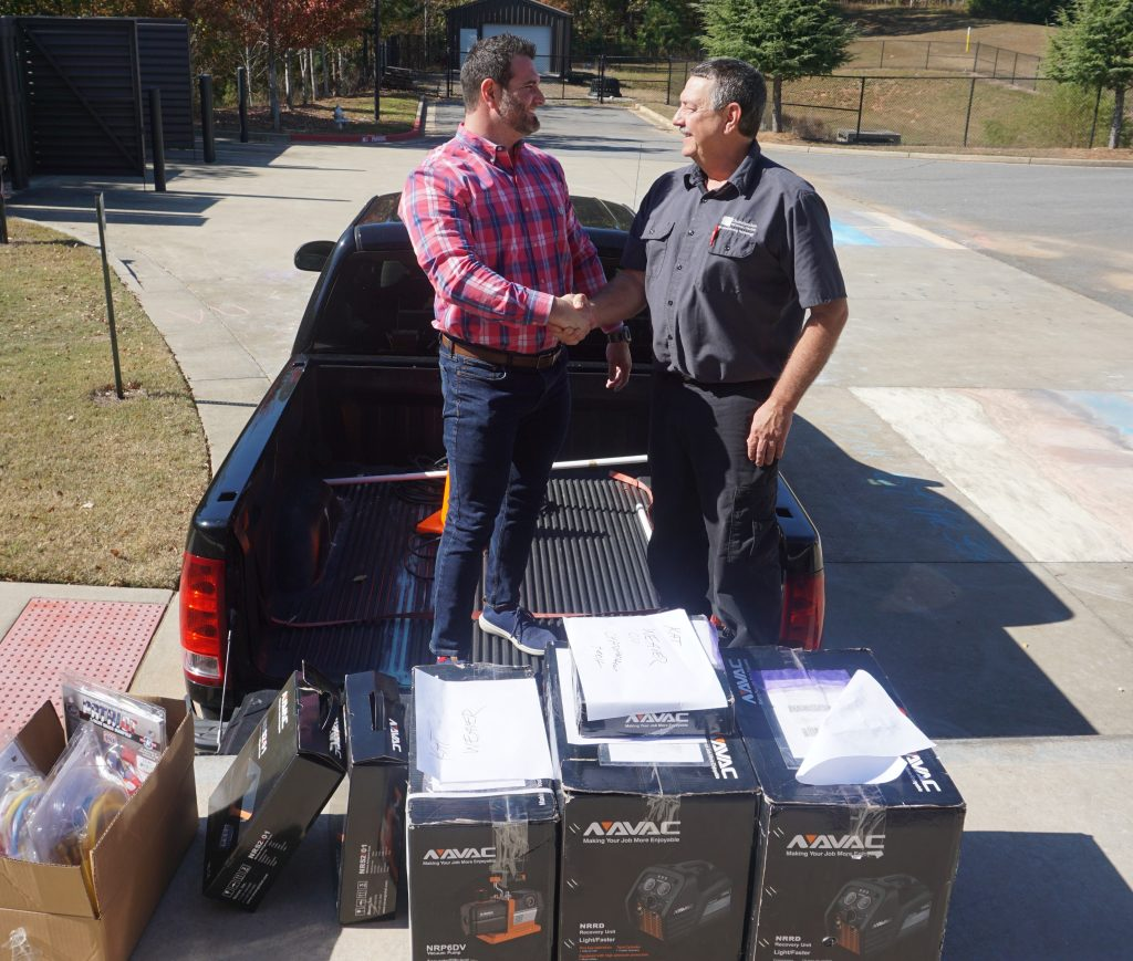 Reliable Heating & Air has donated HVAC equipment valued at over $3,000 to Chattahoochee Tech for the college's Air Conditioning Technology program. Shown here, l-r, are Daniel Jape and Tommy Grizzle.