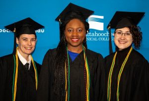 Shown, l-r, are honor graduates and scholarship recipients Judy Newman, Thelma Nora and Alex Cote.