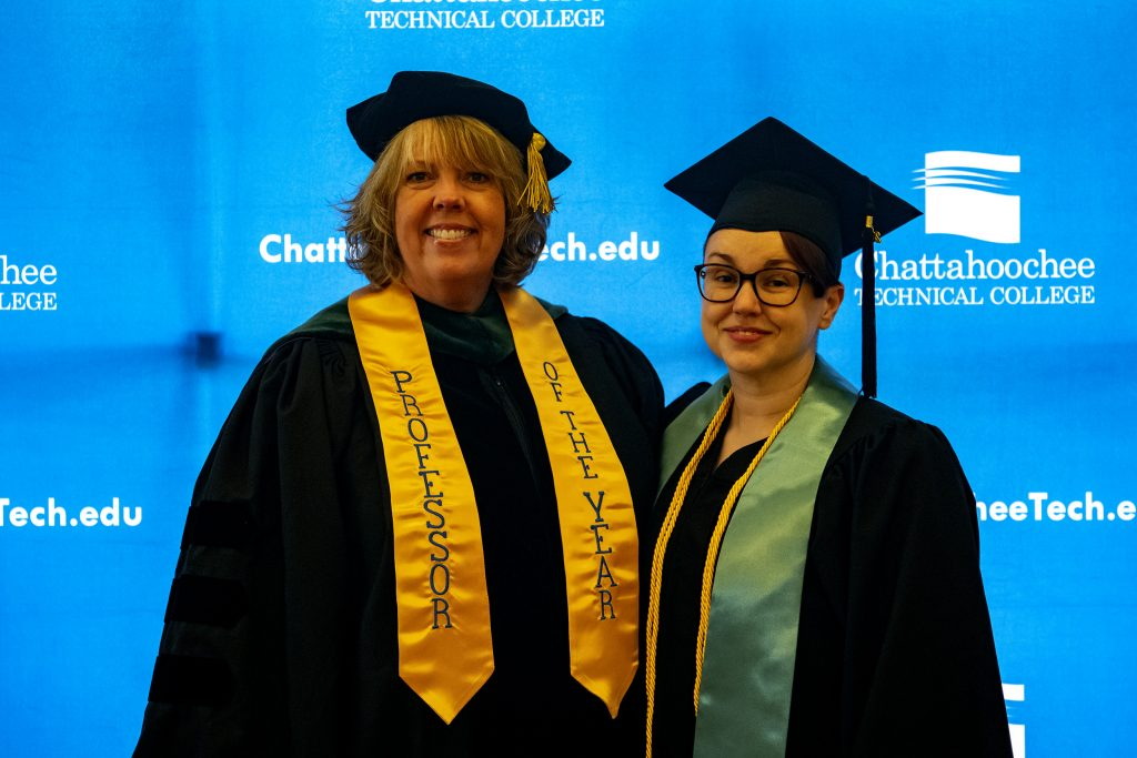 PTA Program Director Stephanie Puffer, who is the college's 2019 Rick Perkins Instructor of the Year delivered the commencement address. Shown here, l-r, are Puffer and Ashley Victoria Clark, an honor graduate in the PTA program and the 2018 Andrew Business scholarship recipient.