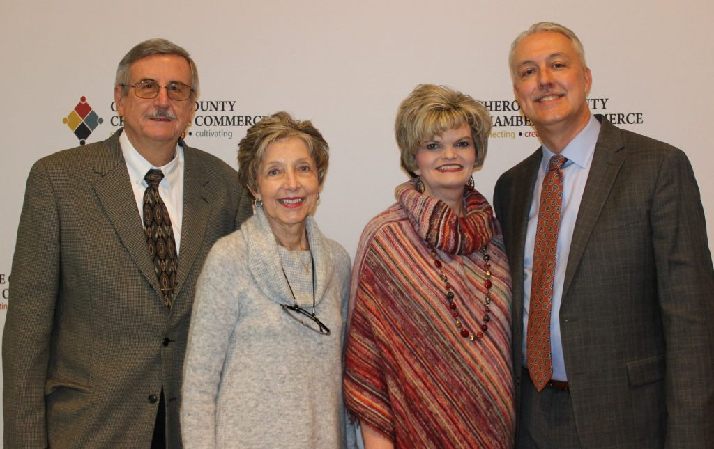 New Cherokee Chamber Chairman David Simmons is pictured here with his family. Shown here, l-r, are his parents, Joyce and Luther McConnell, of Pickens County, and his wife, Suzy.