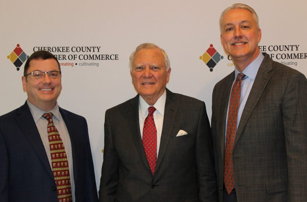 Former Georgia Governor Nathan Deal was the featured speaker at the Cherokee Chamber's annual meeting. Shown here, l-r, are John Barker, former Gov. Nathan Deal, and David Simmons.