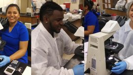 Chattahoochee Tech Clinical Laboratory Technology program students who are currently on clinical rotation are on track to graduate in May. Shown here, l-r, are Chattahoochee Tech students Githza Torres, Desmond Keneose Echi-Omadia, and Sara Stansell.